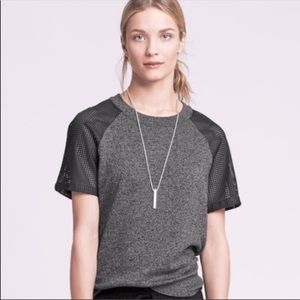 Banana Republic Faux Leather Sleeve Top
